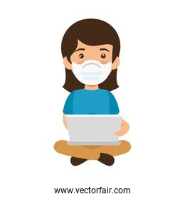 woman using face mask with laptop computer