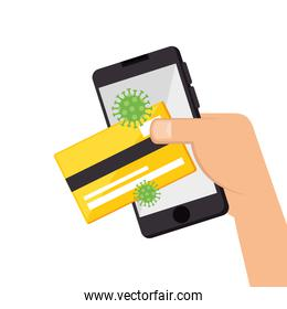 smartphone with credit card and particles covid 19