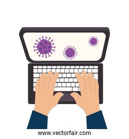 searching covid 19 online in laptop