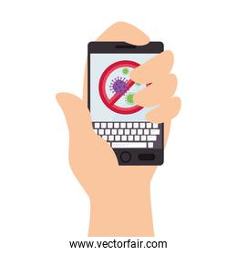 hand using campaign of stop covid 19 in tablet device