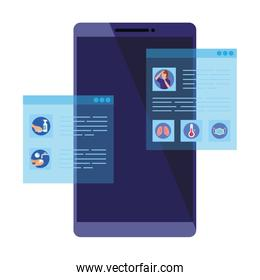 searching covid 19 information online in smartphone