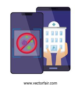 smartphones with stop covid 19 and hospital facade