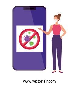 campaign of stop covid 19 in smartphone with woman