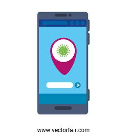 smartphone with app location by infection covid 19