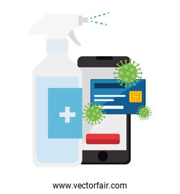prevention spray bottle covid 19 with smartphone and credit card