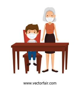 grandmother with boy in wooden table