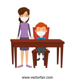 mother with son using face mask in wooden table