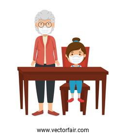 grandmother with girl in wooden table
