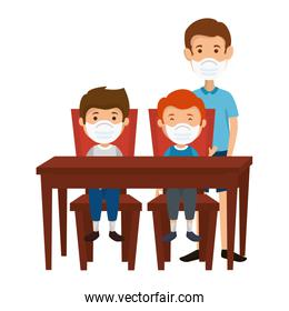 father with sons using face mask in wooden table