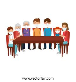 meeting of members family using face mask
