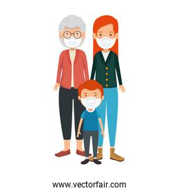 mother with grandmother and son using face mask