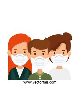 group people using face mask isolated icons