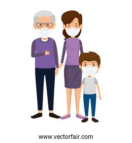 mother with grandfather and son using face mask standing