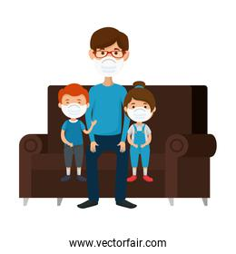 father with children using face mask sitting in couch