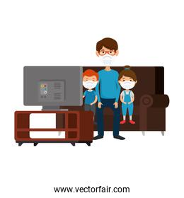 father with children using face mask sitting in couch watching tv