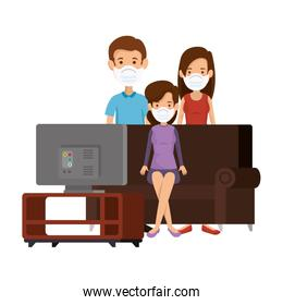 group people using face mask watching tv