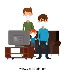 fathers with children using face mask watching tv