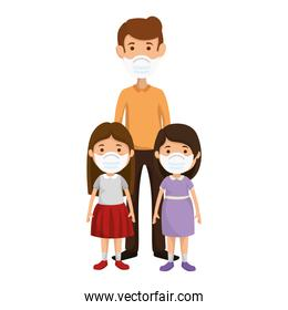father with daughters using medical mask