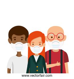 members family using face mask isolated icon
