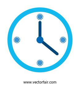 clock wall with particles covid 19 isolated icon