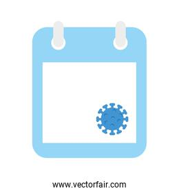 calendar with particle covid 19 isolated icon