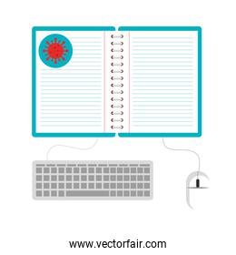 online education by covid 19 isolated icon