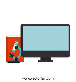 computer with microscope and book isolated icon
