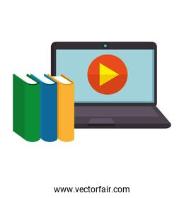online education in laptop with books