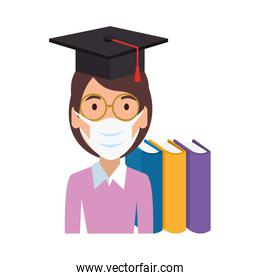 woman graduate using face mask isolated icon