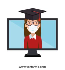 online education graduated woman isolated icon