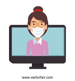 woman wearing face mask in laptop computer
