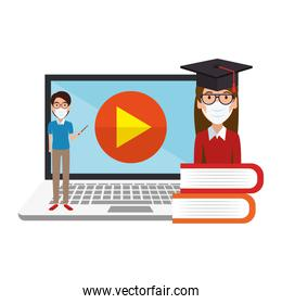 male teacher teaching online isolated icon