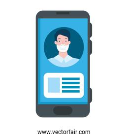 businessman using face mask in smartphone isolated icon