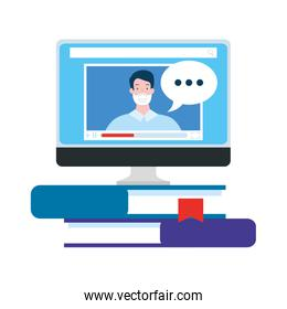 online education in computer with pile books