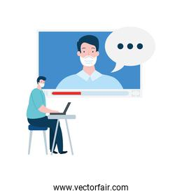 men using face mask in video conference