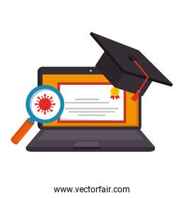 online education graduation with laptop and items