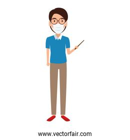 teacher using face mask isolated icon