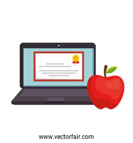 laptop for education online with icons