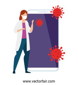 doctor female and smartphone with particles covid 19