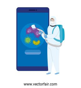 person using suit biohazard for smartphone disinfectant