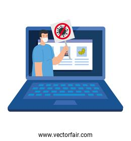 campaign of stop 2019 ncov in laptop