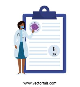 doctor female using face mask with document of covid 19