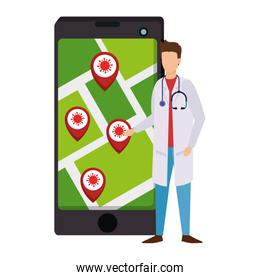 doctor and smartphone with app of infections location covid 19