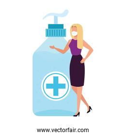 woman with antibacterial bottle isolated icon