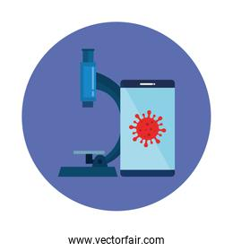 smartphone with particle covid 19 and microscope