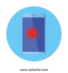 smartphone with particle covid 19 isolated icon