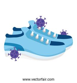 shoes with particles covid 19 isolated icon