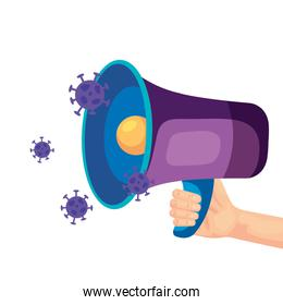 megaphone with particles covid 19 isolated icon