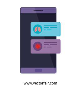 smartphone with information covid 19 isolated icon