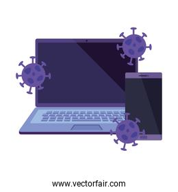 laptop and smartphone with particles covid 19 isolated icon